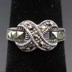Vintage Size 5.5 Sterling Silver Maracite Ring